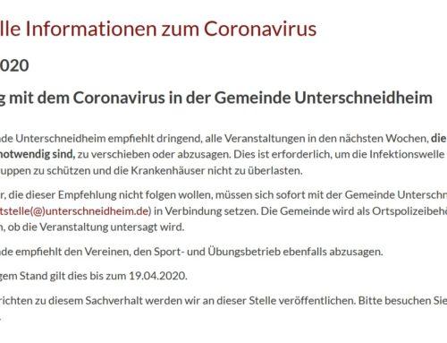 Umgang mit dem Coronavirus: aktuelle Information zum Trainings- und Turnbetrieb aller Abteilungen